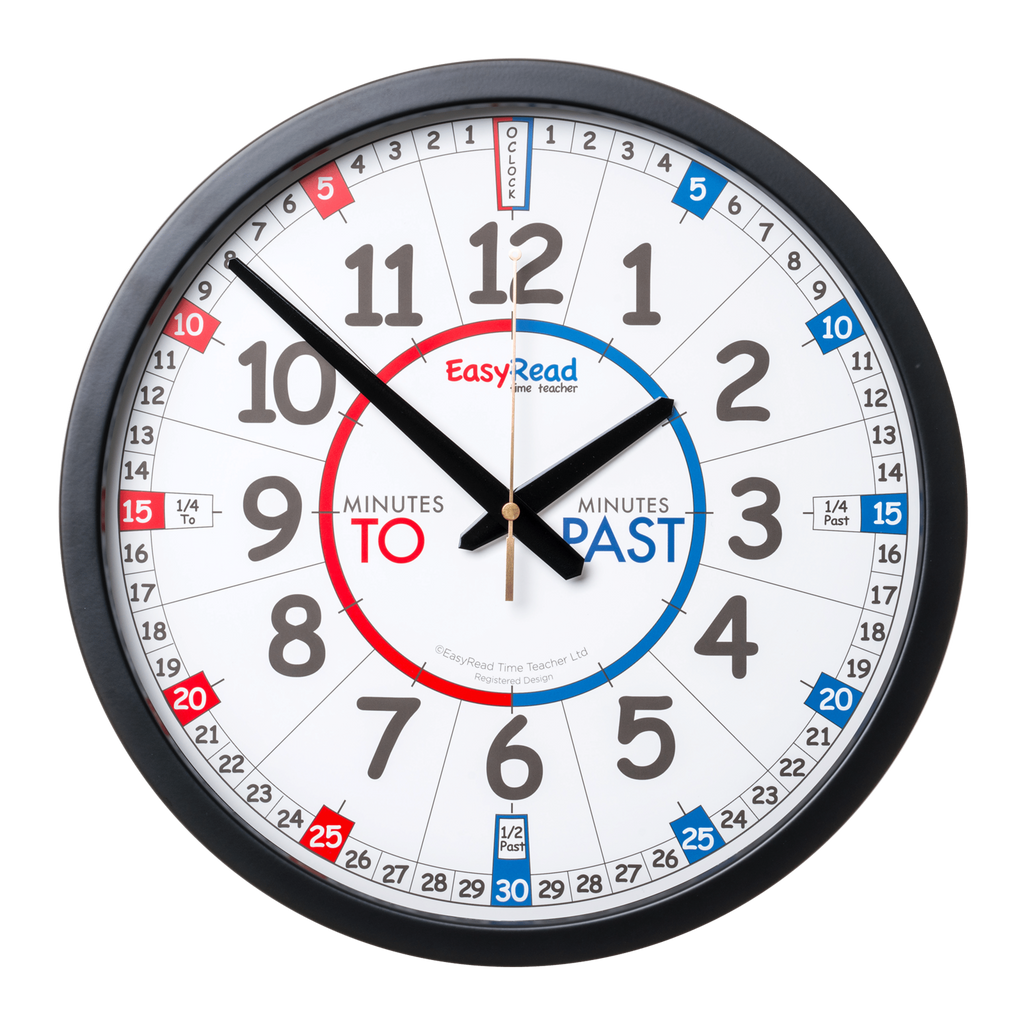 EasyRead 35cm Classroom Clock | Red & Blue Face - STEAM Kids