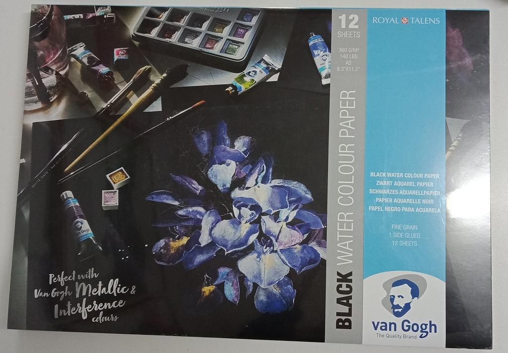 Van Gogh A3 Black Watercolour Paper 12 sheets - STEAM Kids Brisbane