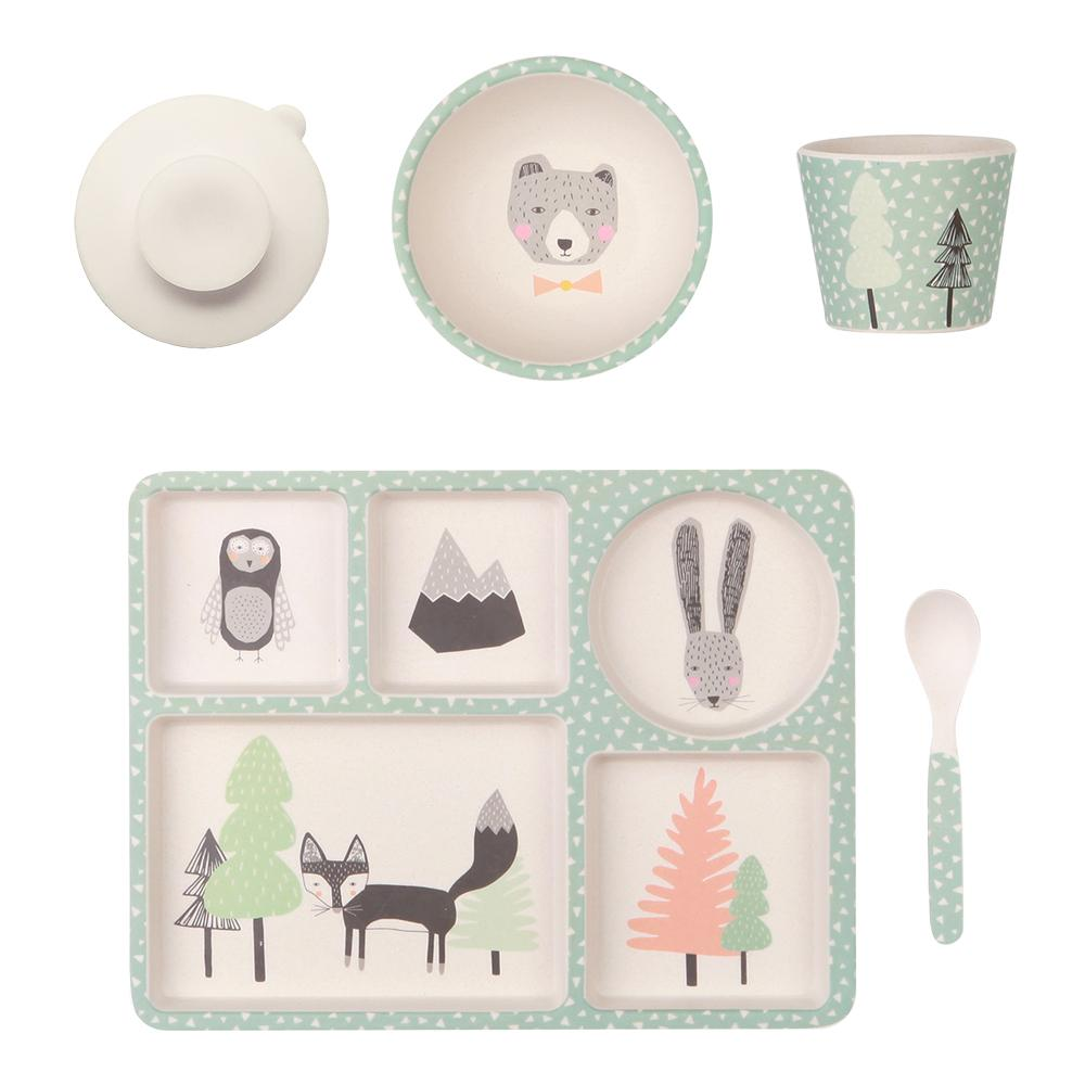 Love Mae Bamboo Divided Plate Set Fox and Friends - STEAM Kids Brisbane