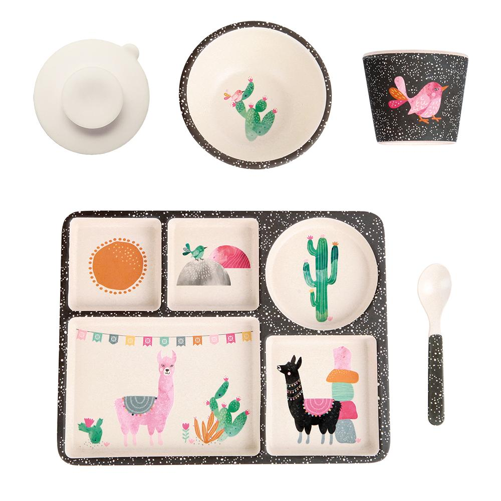 Love Mae Bamboo Divided Plate Set Llamarama - STEAM Kids Brisbane