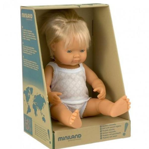 Miniland Anatomically Correct Baby Doll Caucasian Boy 38cm - STEAM Kids Brisbane