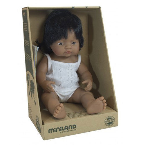 Miniland Latin American Anatomically Baby Girl Doll 38cm - STEAM Kids Brisbane