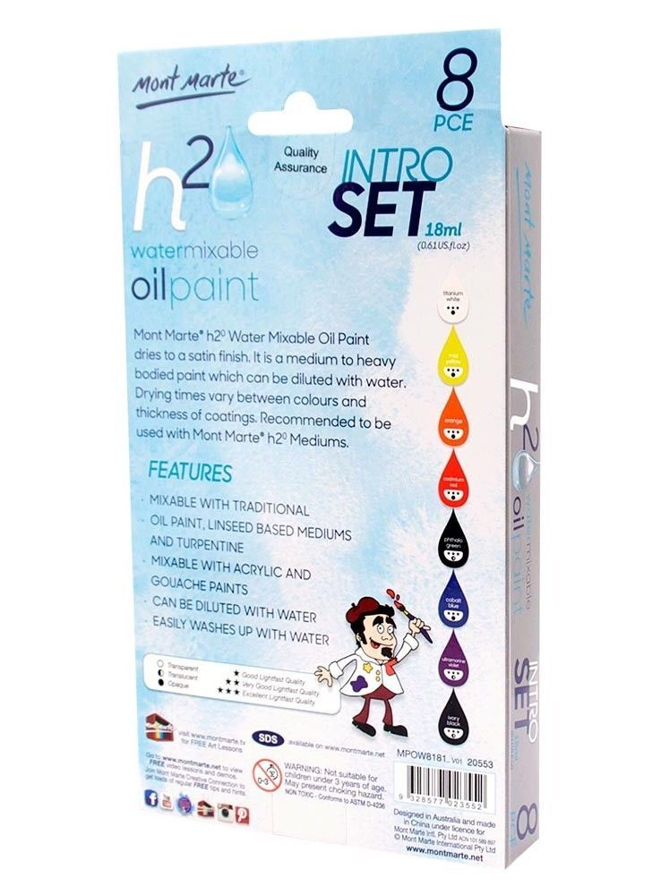 Mont Marte Intro Paint Set - Water Mixable Oil Paint 8pc x 18ml - STEAM Kids Brisbane