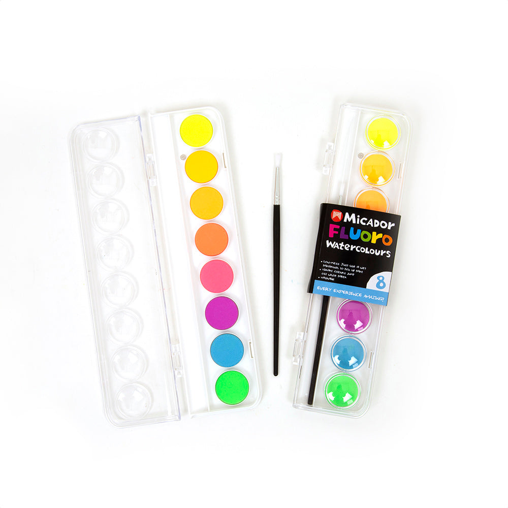 Micador Fluoro Watercolour Palette 8 - STEAM Kids Brisbane