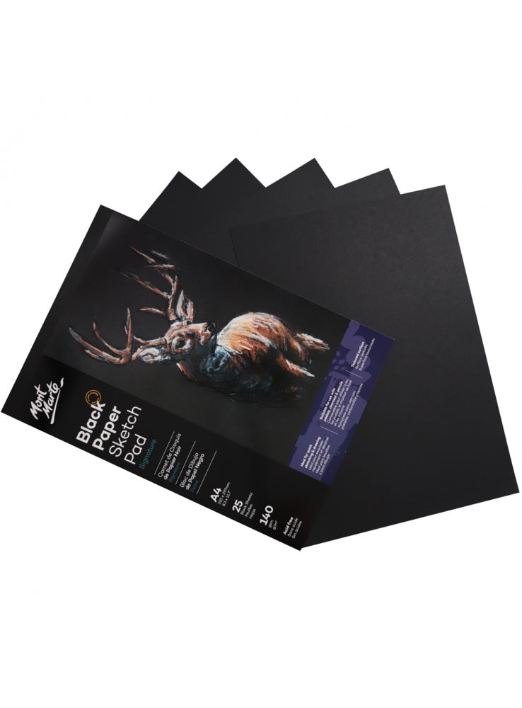 Mont Marte Signature Black Paper Sketch Pad A4 25 sheets 140gsm - STEAM Kids Brisbane