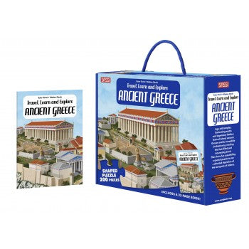 Sassi Travel, Learn and Explore - Puzzle and Book Set - Greece, 200 pcs - STEAM Kids Brisbane