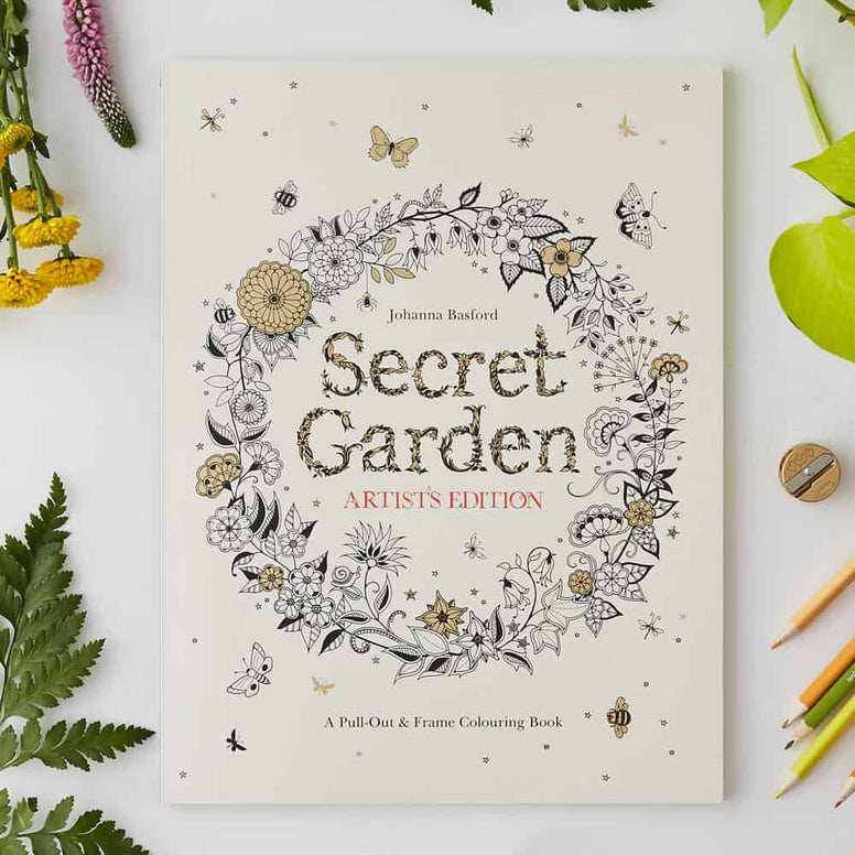 Secret Garden Artist's Edition -A Pull Out and Frame Colouring book by Johanna Basford - STEAM Kids Brisbane