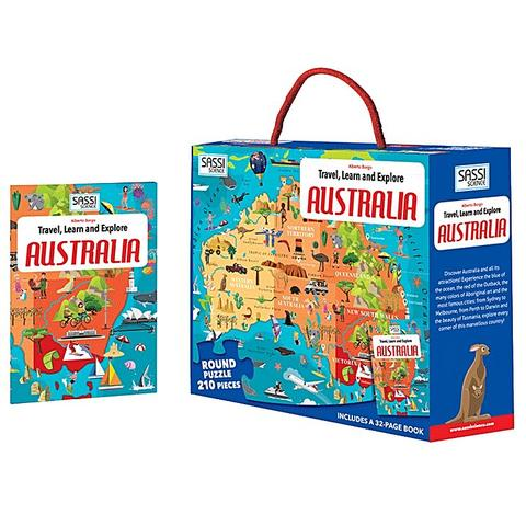 Sassi Travel Learn and Explore Australia Book and Puzzle - STEAM Kids Brisbane