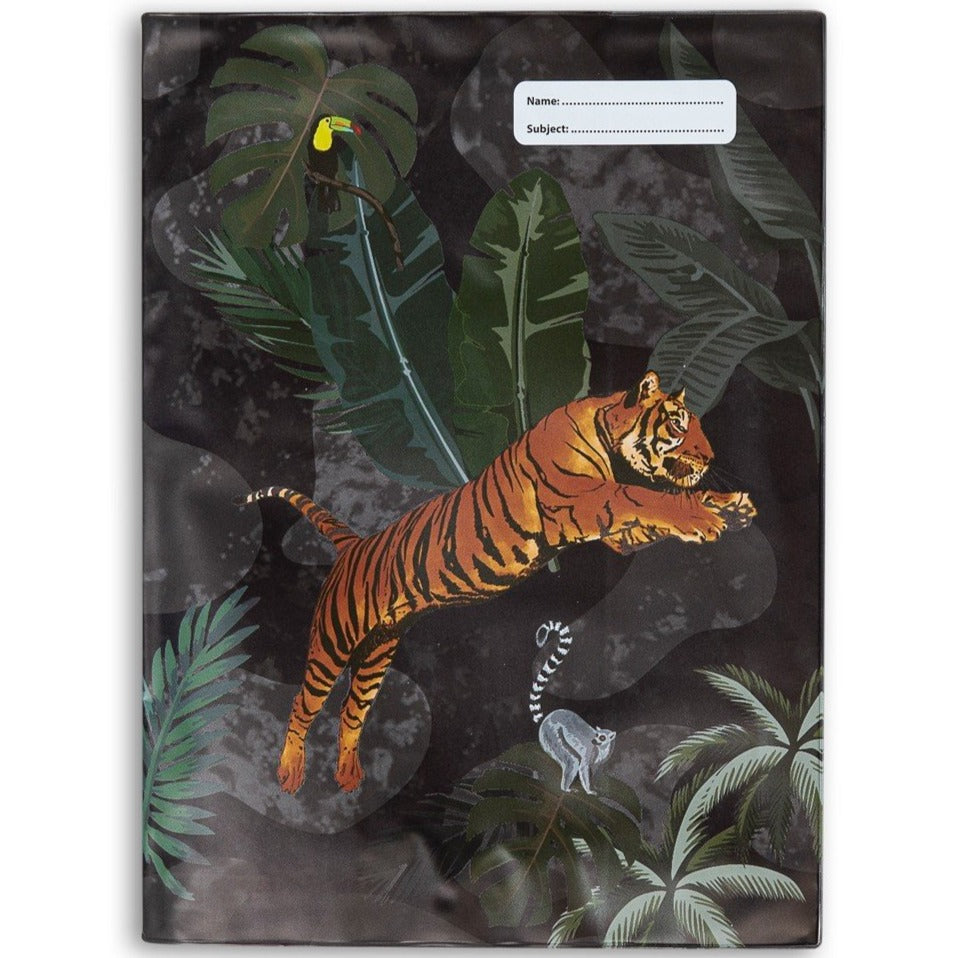 Spencil A4 Bookcover - Jungle Mayhem II Book Cover A4 Exercise Book Size - STEAM Kids Brisbane