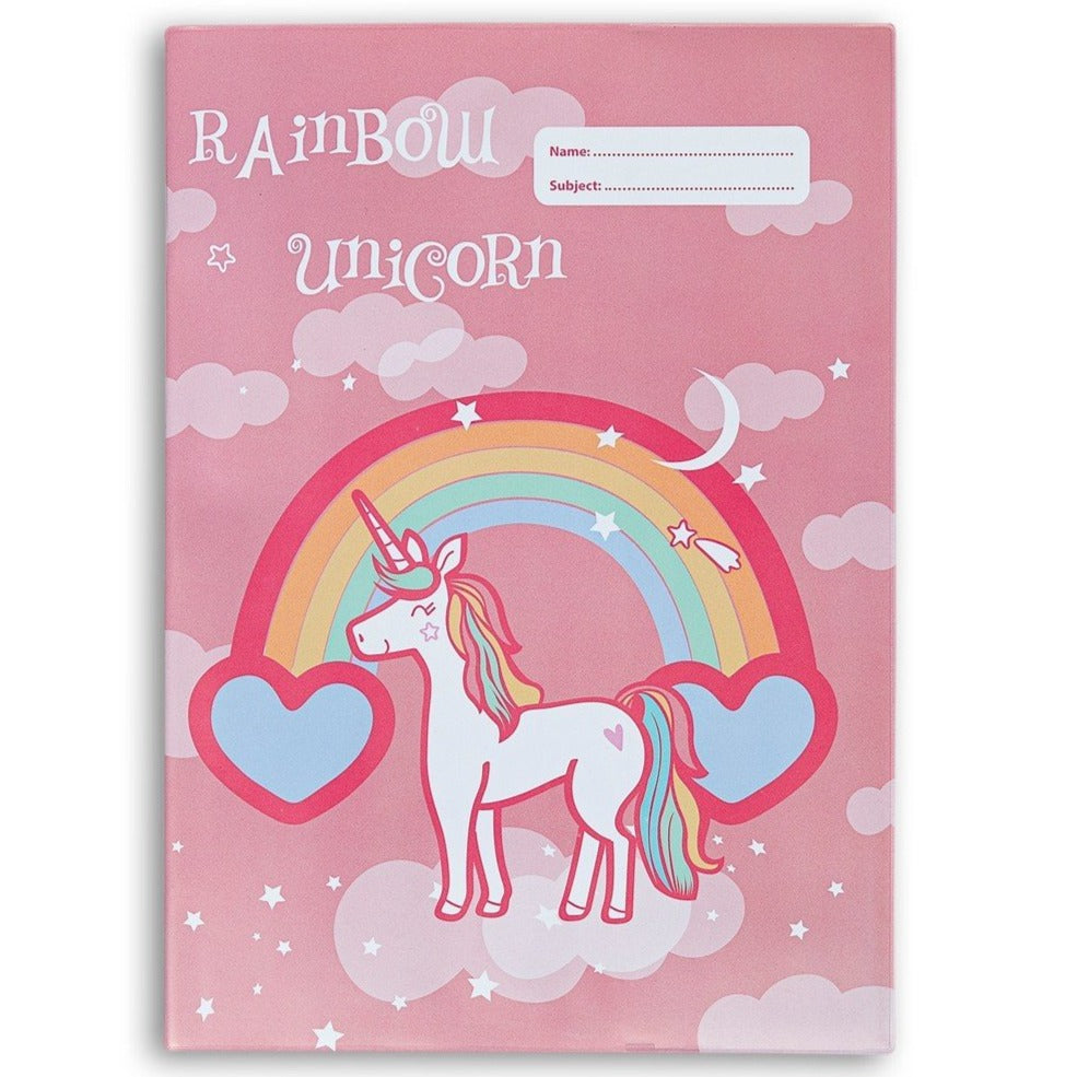 Spencil A4 Bookcover - Rainbow Unicorn III | Book Cover A4 Exercise Book Size - STEAM Kids Brisbane