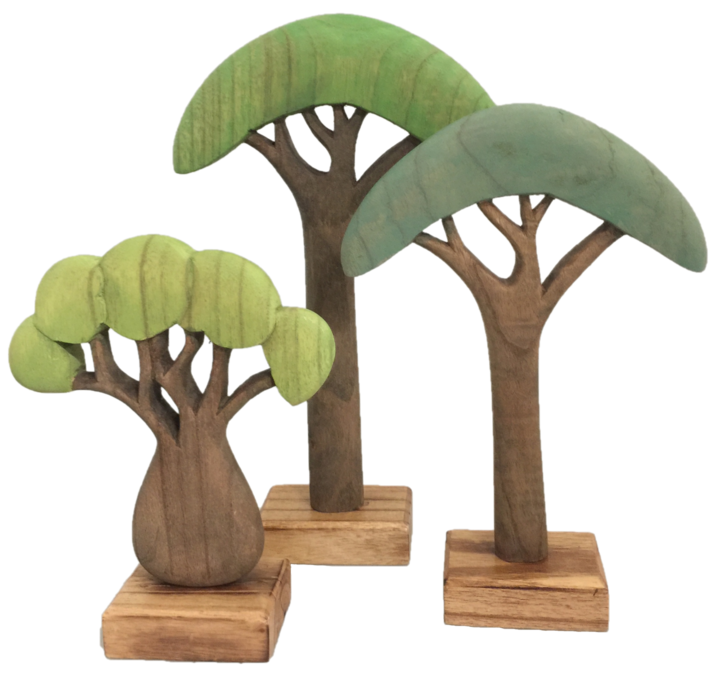 African Wooden Trees Coloured 3 Piece Set - STEAM Kids Brisbane