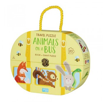 Sassi Animals on a Bus Travel Giant Puzzle and Book 20pcs - STEAM Kids Brisbane