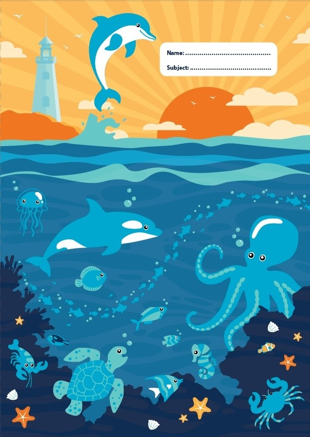 Spencil A4 Bookcover - | Ocean Life III | - STEAM Kids Brisbane