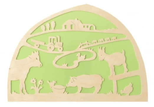 De Noest Silhouette Plate: Farm Animals Green - STEAM Kids Brisbane
