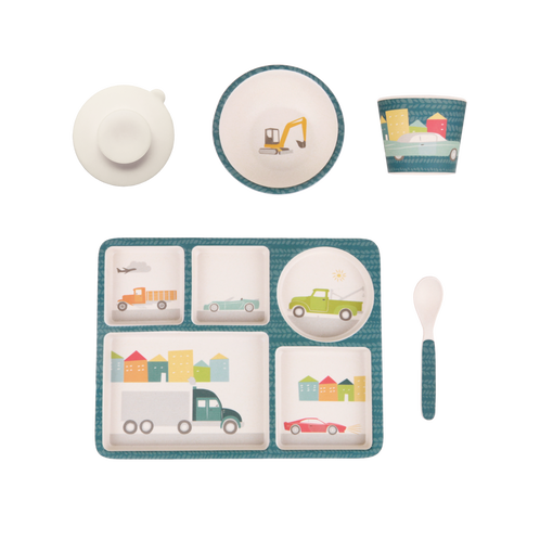 Love Mae Bamboo Divided Plate Set Cars - STEAM Kids Brisbane