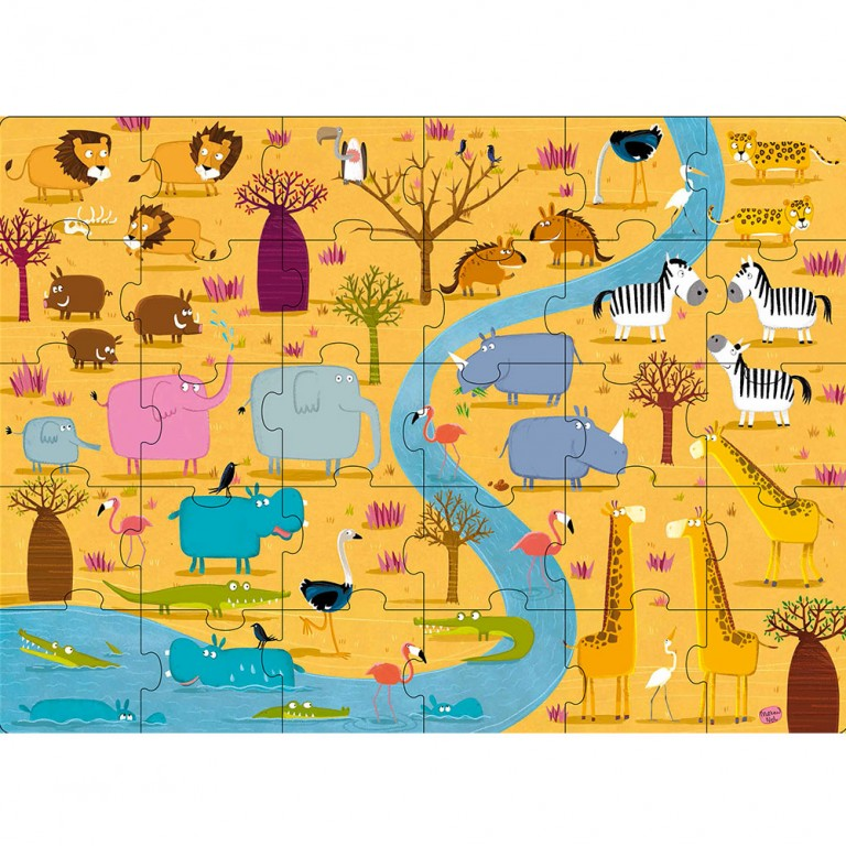 Sassi Animals of Africa Giant Puzzle, 30pcs - STEAM Kids Brisbane