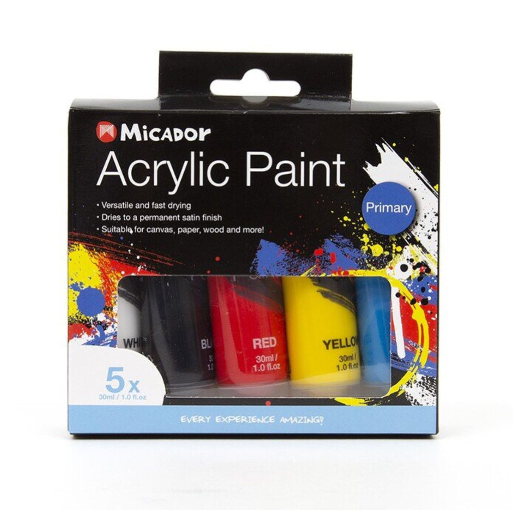 Micador Acrylic Paint 5 x 30ml tubes Primary Colours - STEAM Kids Brisbane