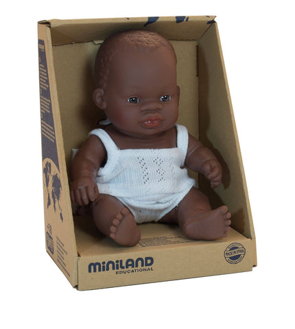 Miniland 21cm African Anatomically Correct Baby Girl Doll - STEAM Kids Brisbane