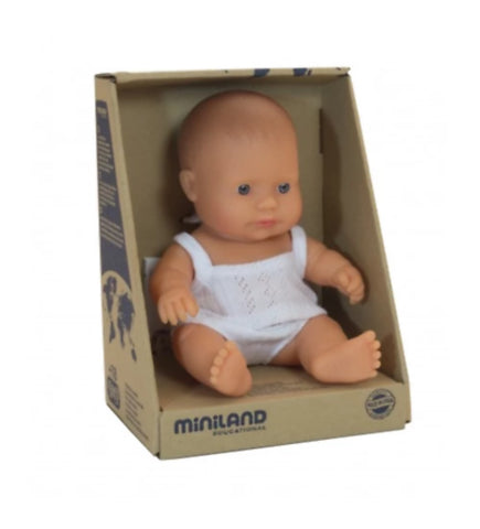 Miniland 21cm Caucasian Anatomically Correct Baby Girl Doll - STEAM Kids Brisbane