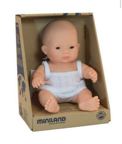 Miniland 21cm Asian Anatomically Correct Baby Girl Doll - STEAM Kids Brisbane