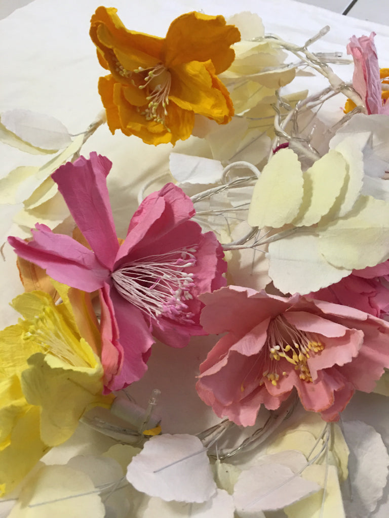Sparkling Paper Flower Lights in Pinks and Yellows - STEAM Kids