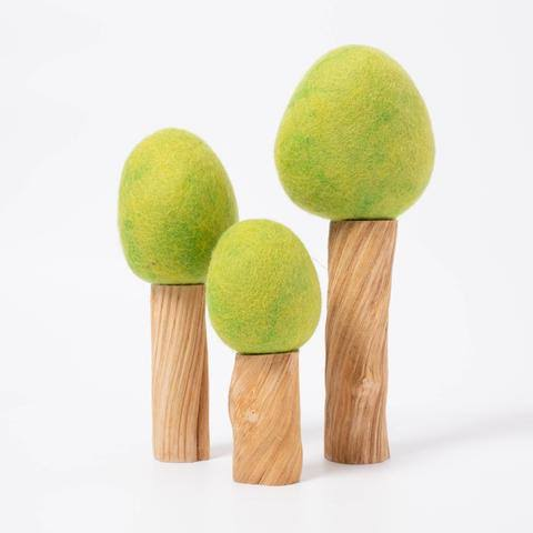 Earth Spring Tree Set of 3 - Wood and Felt by Papoose Toys - STEAM Kids Brisbane