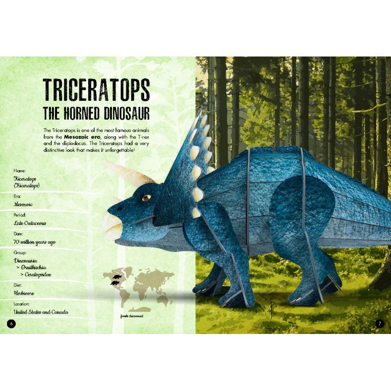 Sassi The Age of Dinosaurs Book and Triceratops 3D Model - STEAM Kids Brisbane