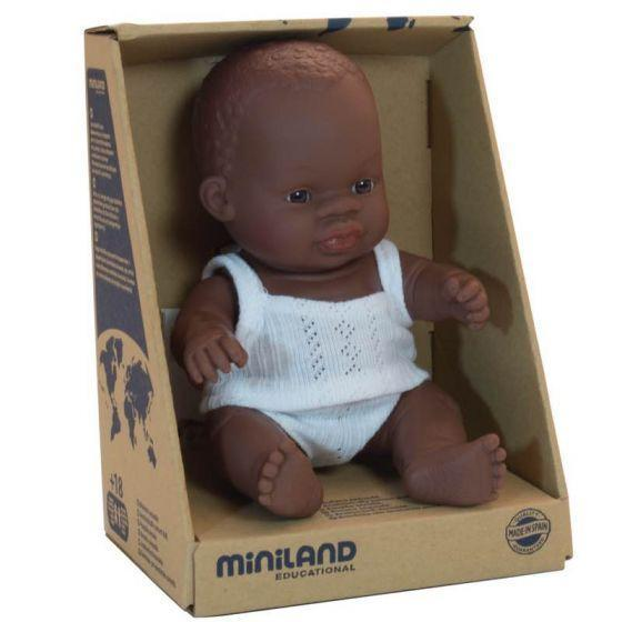 Miniland 21cm African Baby Boy Doll | Anatomically Correct - STEAM Kids