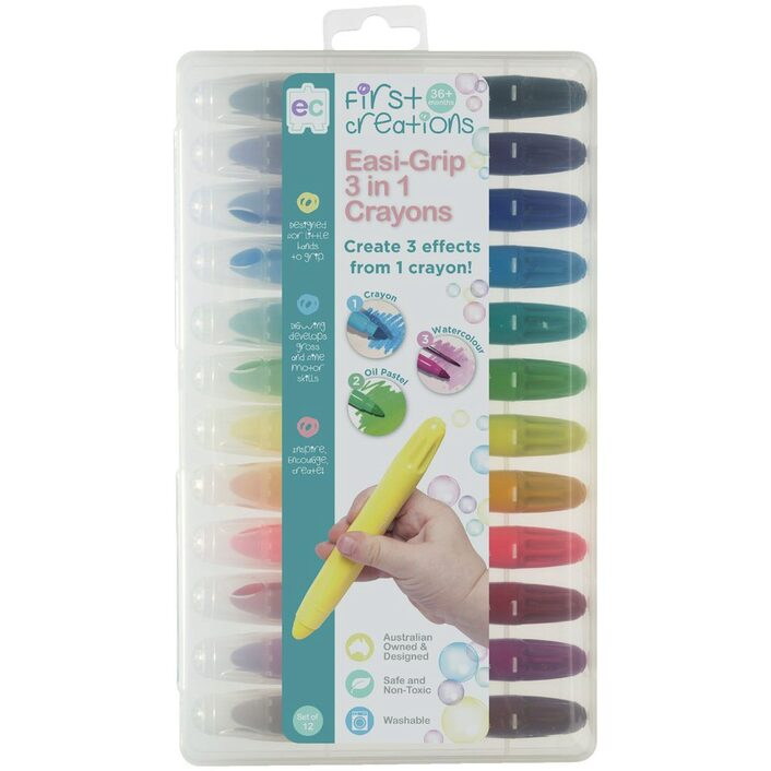 First Creations Easigrip 3-in-1 Crayons 12 Pack - STEAM Kids Brisbane