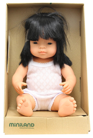 Miniland 38cm Anatomically Correct Baby Doll Asian Girl - Flying Fox Shop Brisbane