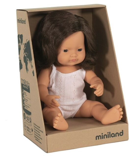 Miniland 38cm Anatomically Correct Doll - Caucasian Girl, Brunette, 38 cm - STEAM Kids Brisbane