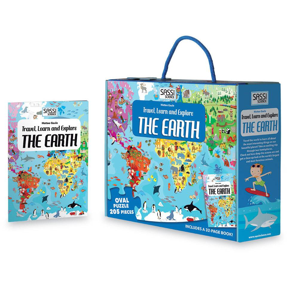 Sassi Travel Learn and Explore the Earth Book and Puzzle - STEAM Kids Brisbane