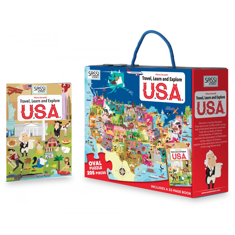 Sassi Travel Learn and Explore USA Book and Puzzle - STEAM Kids Brisbane