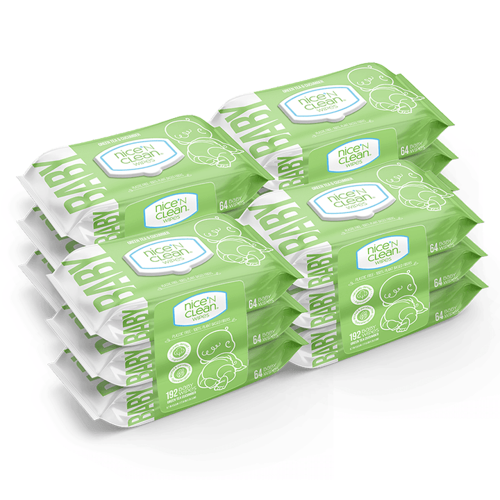Green Tea & Cucumber Baby Wipes - 12 Packs (64-Count)