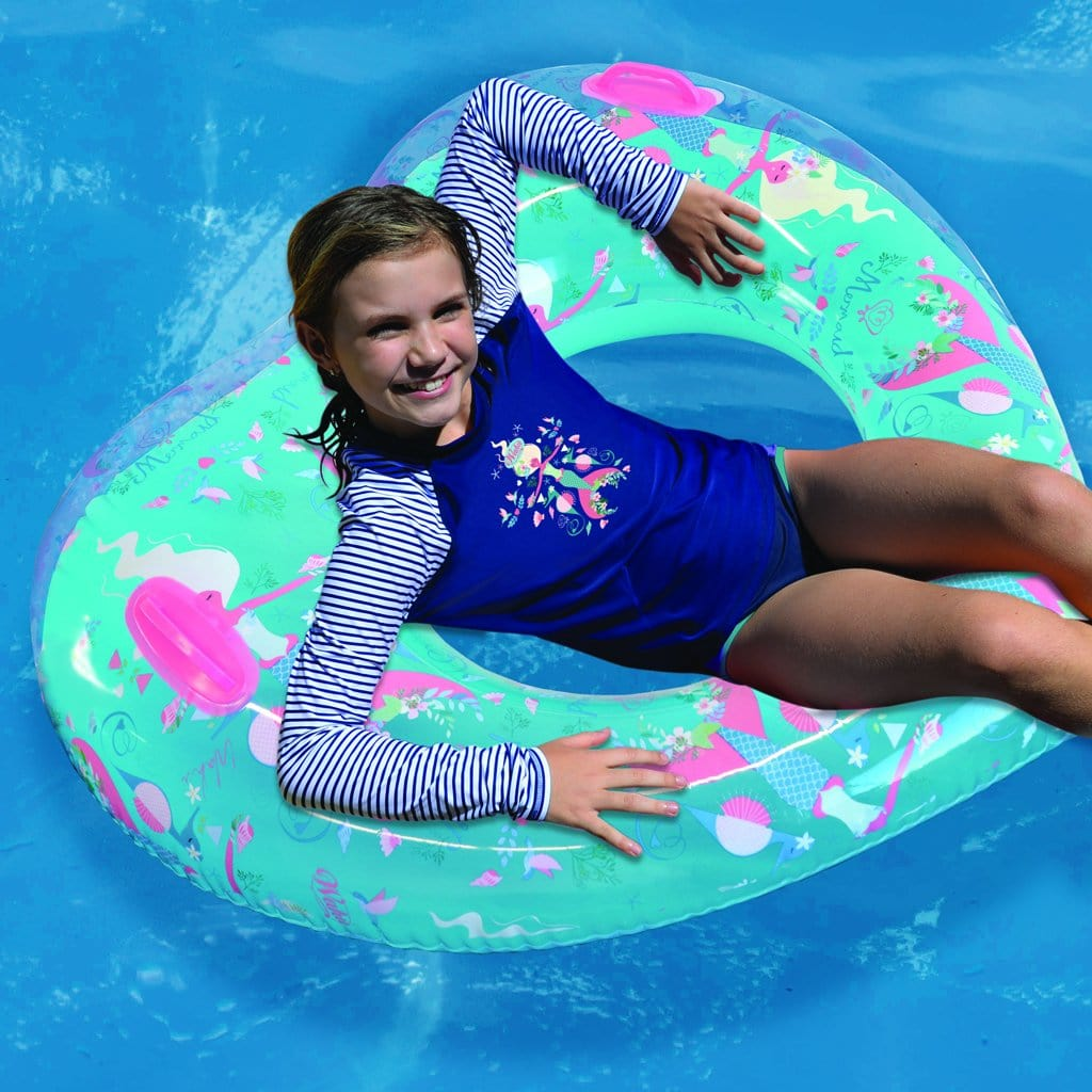 Child in pool relaxing on the Wahu Mermaid Heart Float