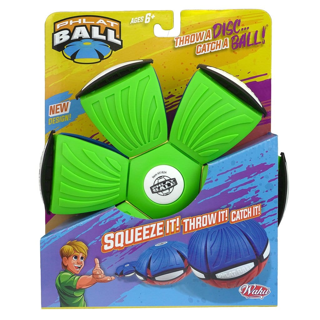 Green and Blue Wahu Phlat Ball V4 in packaging