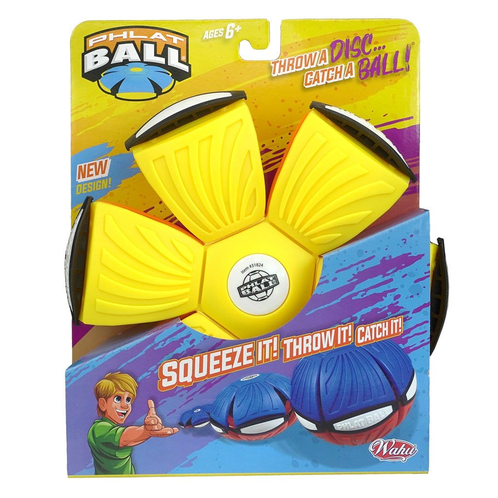 Yellow and Orange Wahu Phlat Ball V4 in packaging
