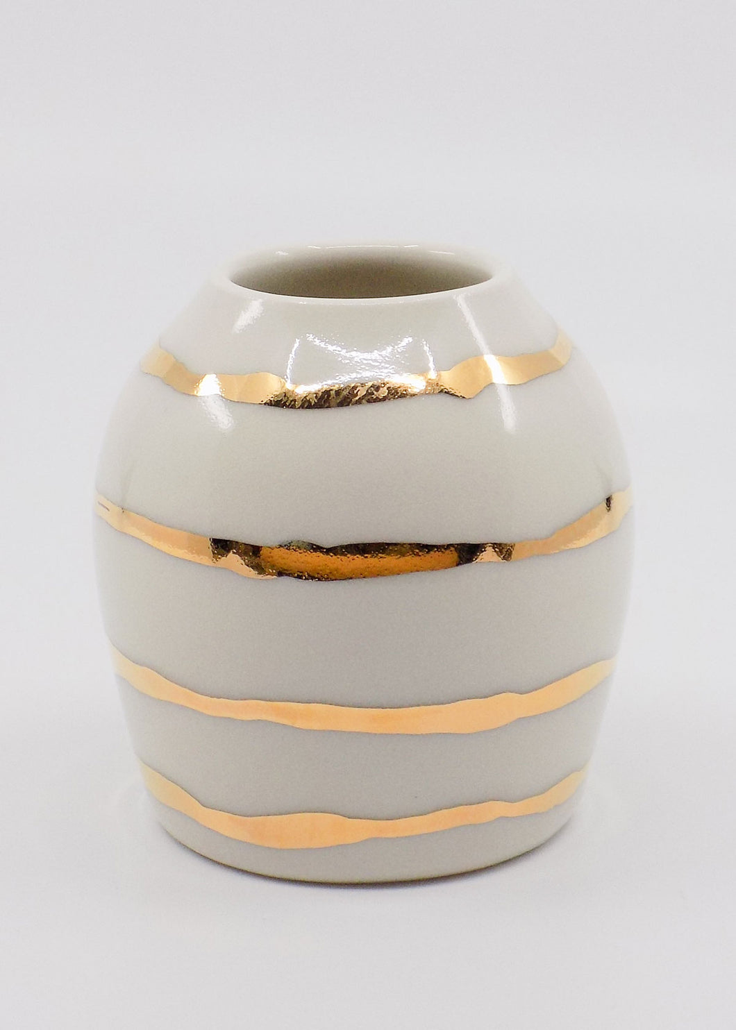 Gold Stripe Bud Vase