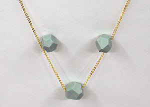 Faceted Mint Green Ceramic Necklace & Earrings