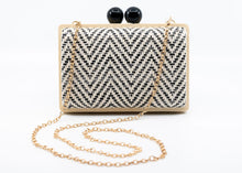 Load image into Gallery viewer, Black and White Herringbone Clutch