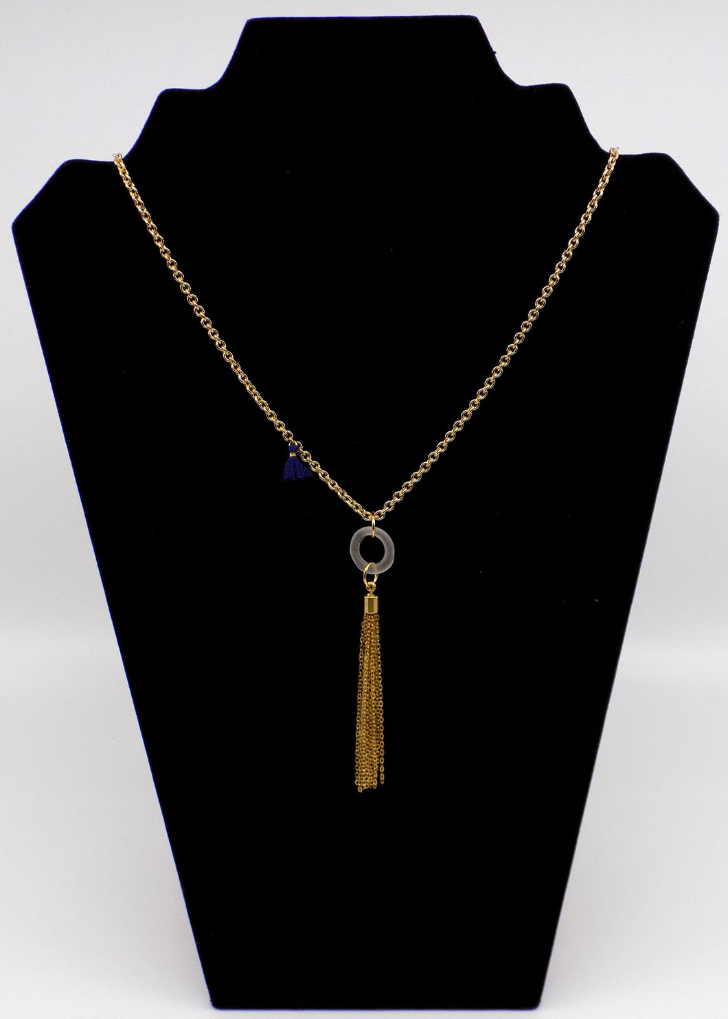 Long Necklace with Glass and Tassel