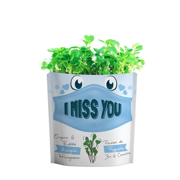 I Miss You Greeting Card Microgreens Pouch