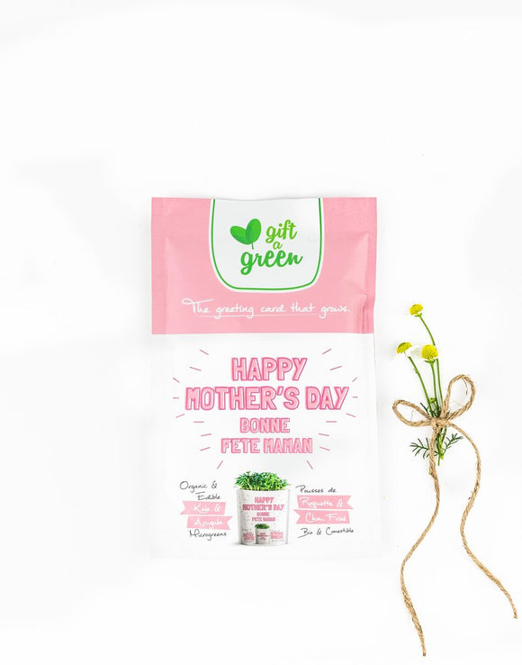 Mother's Day Greeting Card Microgreens Pouch