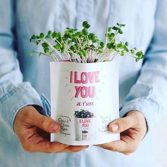 I Love You Greeting Card Microgreens Pouch