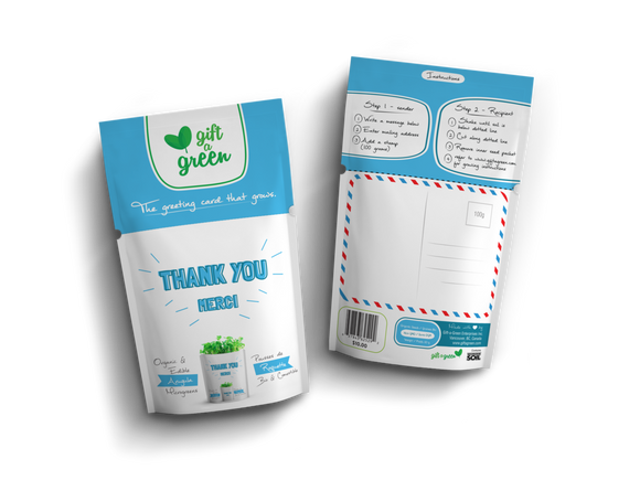 Thank You Greeting Card Microgreens Pouch