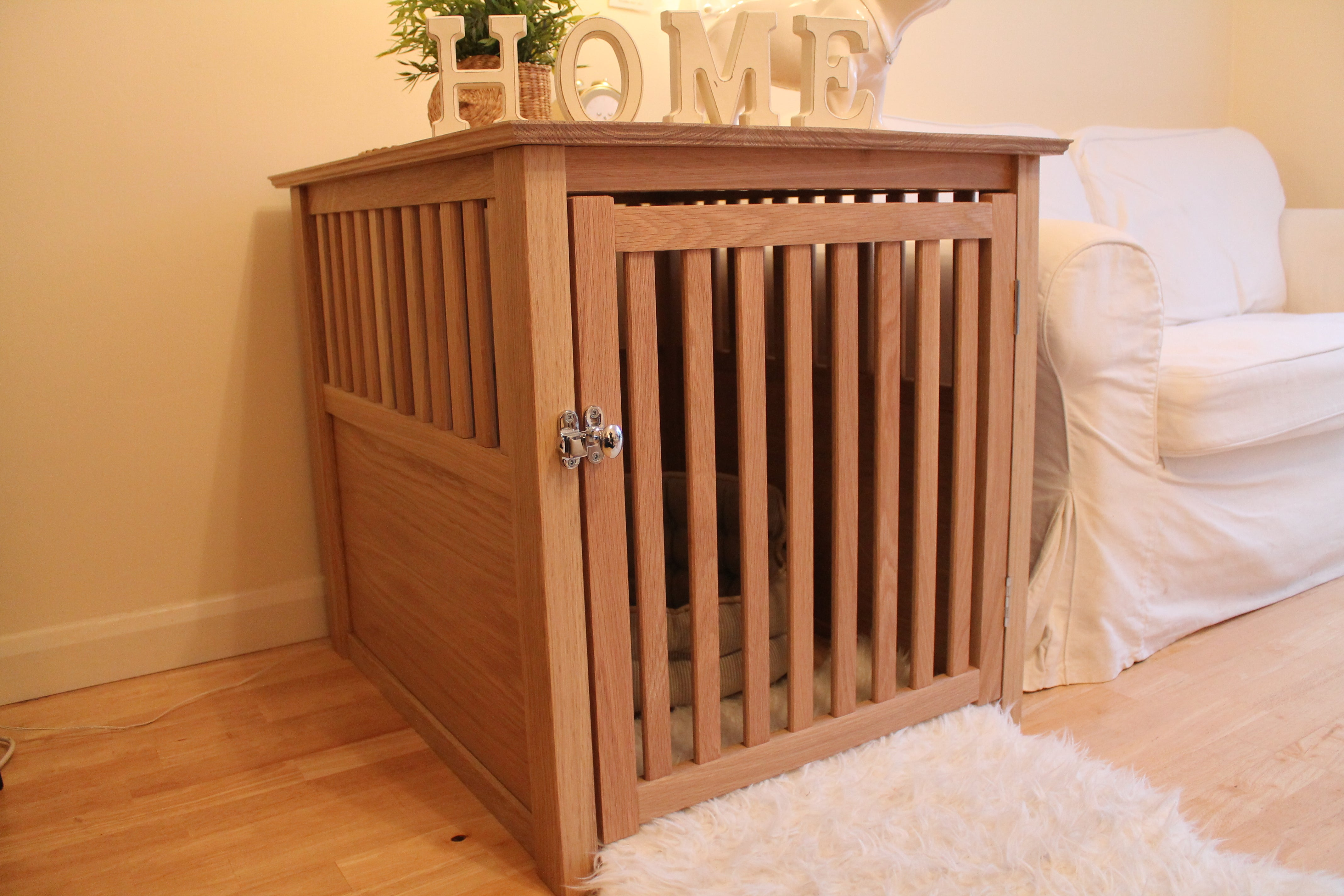 Solid Oak Wooden Dog Crate - R&M Woodworking