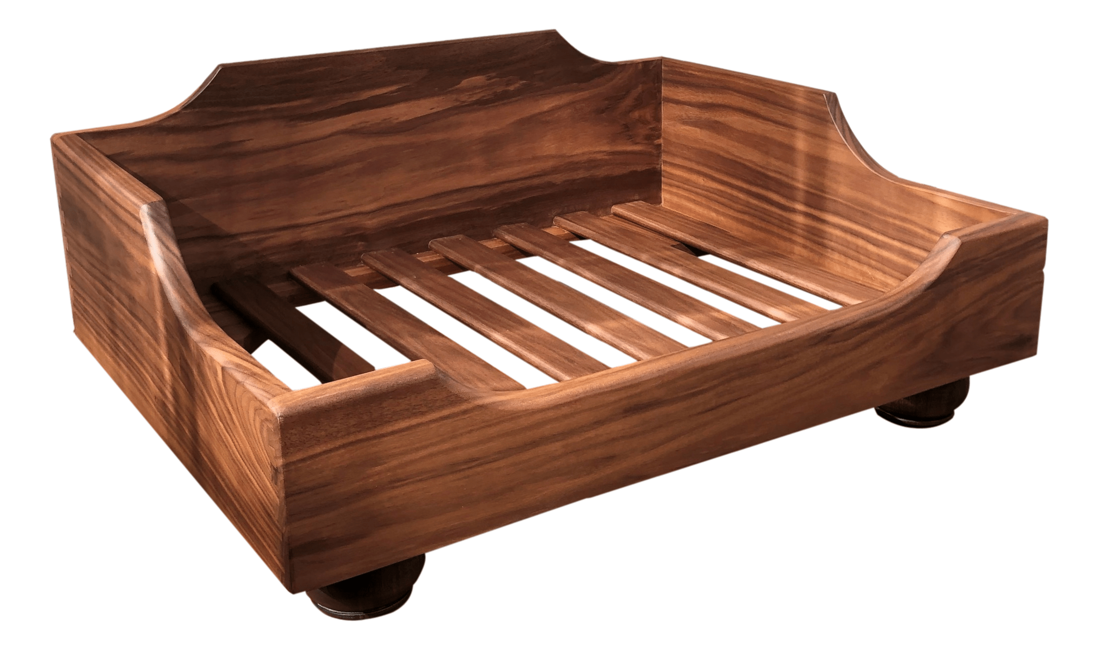 Solid Walnut Raised Wooden Dog Bed - R&M Woodworking