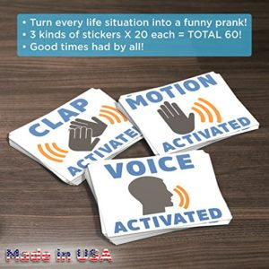 voice and motion activated prank stickers package.