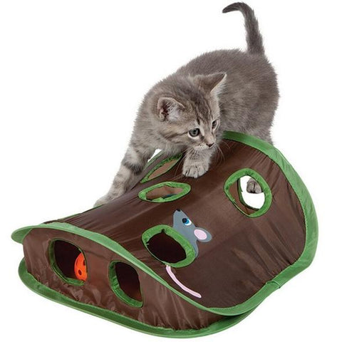 free giveaway of 9 hole tunnel cat toy with ball and mouse to compliment the cat toilet training system.