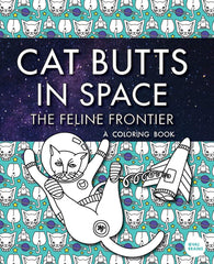 cat butts in space cover coloring book.